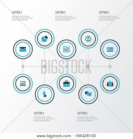 Business Colorful Icons Set. Collection Of Bank Card, Businessman, Analytics And Other Elements