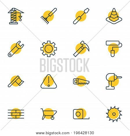 Editable Pack Of Hacksaw, Caution, Roller And Other Elements. Vector Illustration Of 16 Structure Icons.