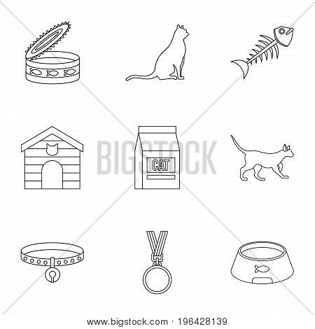 Cat things icons set. Outline set of 9 cat things vector icons for web isolated on white background