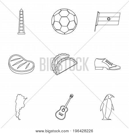 Typical Argentina icons set. Outline set of 9 typical Argentina vector icons for web isolated on white background