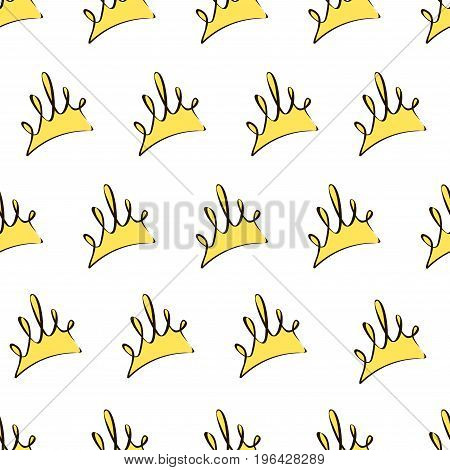Seamless Pattern With Yellow Crowns On A White Background, Vector Illustration.