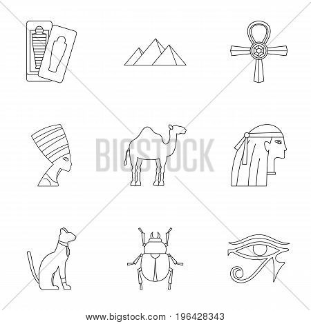 Egyptian pyramids icons set. Outline set of 9 Egyptian pyramids vector icons for web isolated on white background