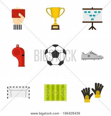 Football championship icons set. Flat set of 9 football championship vector icons for web isolated on white background
