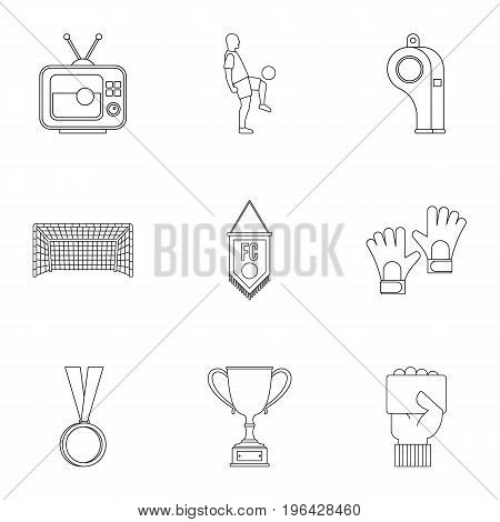 Football championship icons set. Outline set of 9 football championship vector icons for web isolated on white background