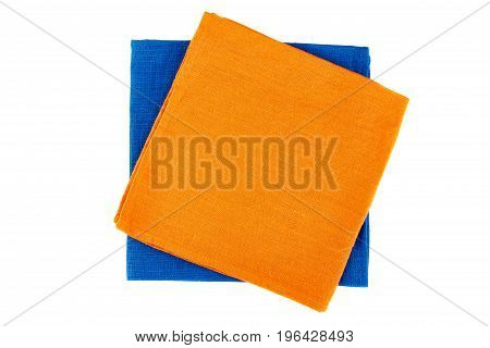 Two colorful textile napkins isolated on white background