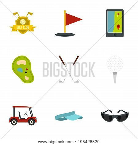 Golf things icons set. Flat set of 9 golf things vector icons for web isolated on white background