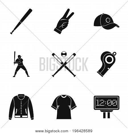 Baseball championship icons set. Simple set of 9 baseball championship vector icons for web isolated on white background