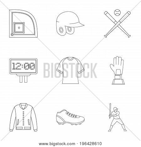 Baseball championship icons set. Outline set of 9 baseball championship vector icons for web isolated on white background
