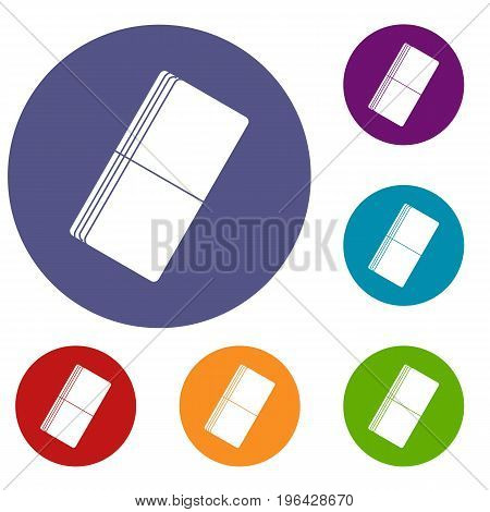 Eraser icons set in flat circle red, blue and green color for web