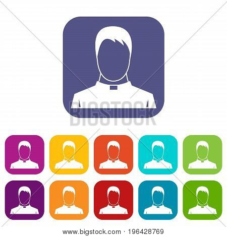 Priest icons set vector illustration in flat style in colors red, blue, green, and other