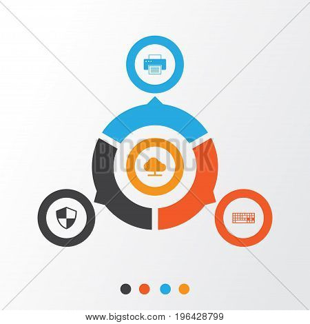 Gadget Icons Set. Collection Of Defense, Printing Machine, Keypad And Other Elements
