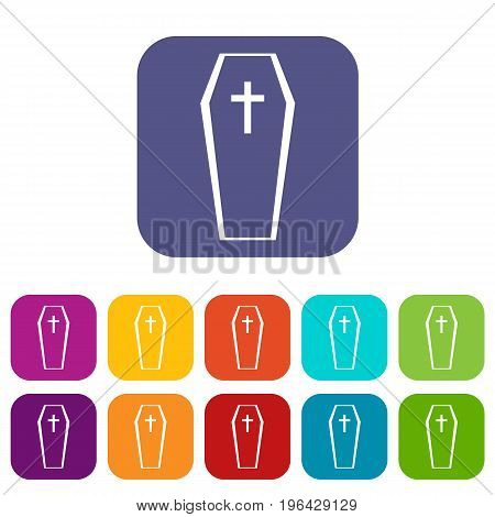 Coffin icons set vector illustration in flat style in colors red, blue, green, and other
