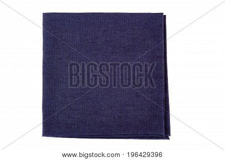 Folded violet textile napkin isolated on white background