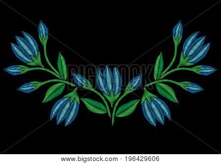 Embroidery stitches imitation folk blue flower with green leaf. Fashion embroidery flower on black background. Embroidery flower vector.