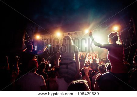 RIMETEA (TOROCKO), ROMANIA - July 2, 2017:Audience in front of the Main Stage at the Doublerise festival, the first multi art festival from Transylvania on July 2, 2017