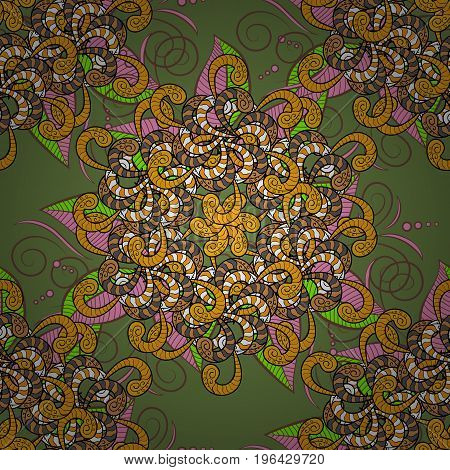 Mandala vector floral flower oriental coloring book page outline template carpet. Seamless pattern with flowers. Background.