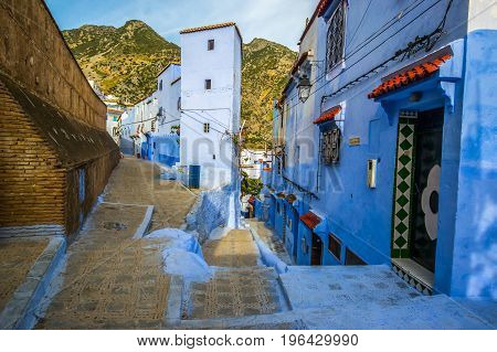 Beautiful blue medina of Chefchaouen city in Morocco Africa.