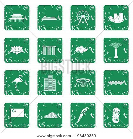 Singapore icons set in grunge style green isolated vector illustration