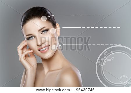 woman's face with blue eyes and clean fresh skin. Beautiful smile and white teeth