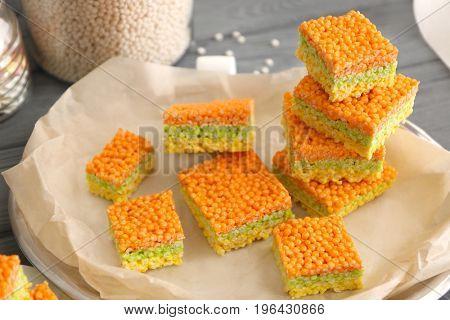 Rice crispy treats on tray