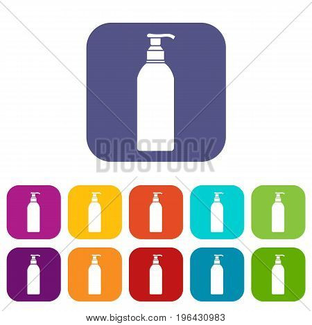 Cosmetic bottle icons set vector illustration in flat style in colors red, blue, green, and other