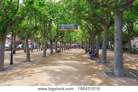 Calella, Spain - April 16: Street View Of Calella In Costa Brava Near Barcelona, Spain 16 Aplril 201