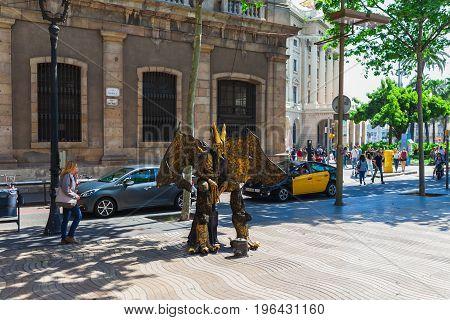 Barcelona, Spain - April 16: View Of Boulevard Rambla In Barcelona, Spain 16 Aplril 2017. Famous Tou