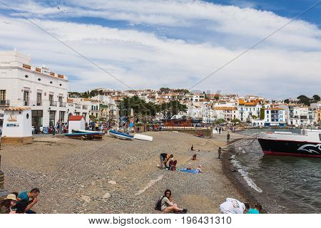 CADAQUES, SPAIN - APRIL 17: Cadaques in Costa Brava near Girona province, Spain 17 Aplril 2017. Famous tourist destination, Salvador Dali lived. Bright sunny day