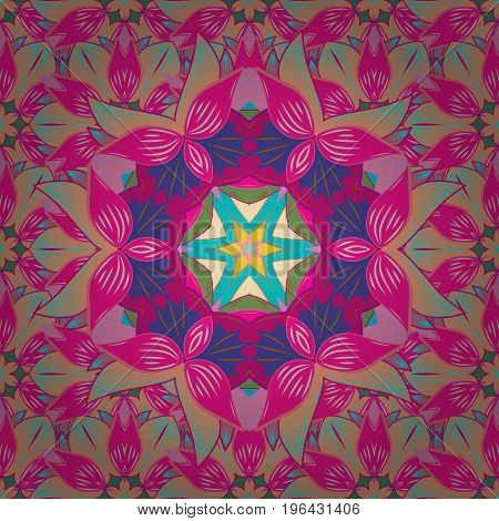 Can be used for textile greeting card coloring book phone case print. Henna tattoo style on a colorful background. Vector ethnic Mandala ornament. Indian floral paisley medallion banners.