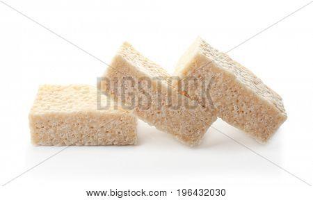 Rice crispy treats on white background