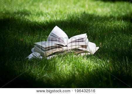 horizontal side view of many open books on top of each other standing on green grass in park in the shadows of the trees