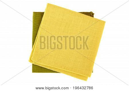 Yellow and green textile napkins isolated on white background