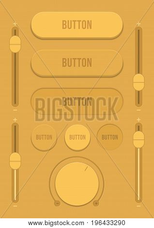 Control user interface. A set of buttons sensors and sliders in retro style. Ui controls. Brown switches. Minimum and maximum. Vector illustration