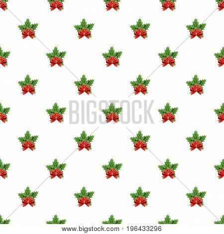 Christmas bow with holly berry pattern seamless repeat in cartoon style vector illustration