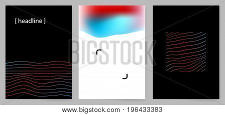 Set of modern minimal design covers with abstract lines and mesh gradients for presentation identity branding brochure poster catalogue etc. Vector illustration.