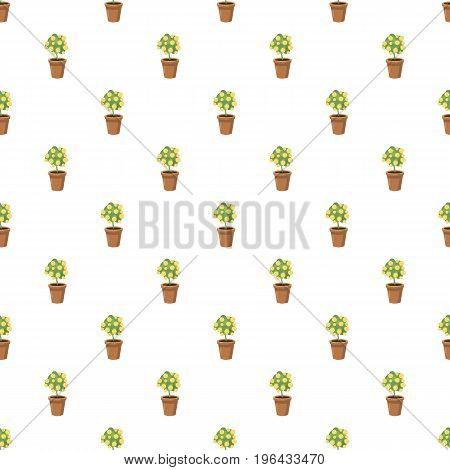 Decorative tree in flowerpot pattern seamless repeat in cartoon style vector illustration
