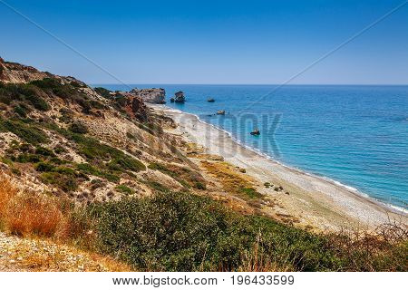 Panoramic Sunset Landscape Of Petra Tou Romiou (the Rock Of The Greek), Aphrodite's Legendary Birthp