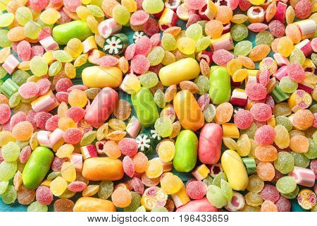 Tasty colorful candies, closeup