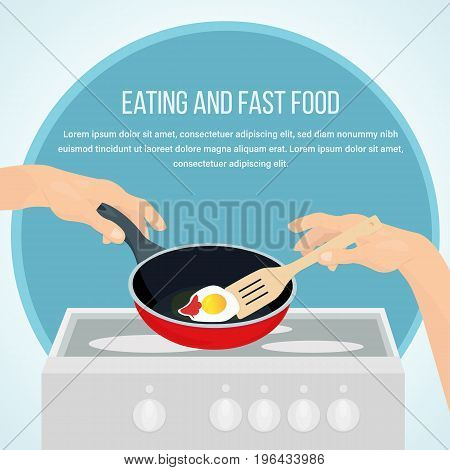 Concept of eating and fast food. Cooking in the form of appetizing scrambled eggs household chores kitchen furnishings and interiors. Vector illustration isolated.