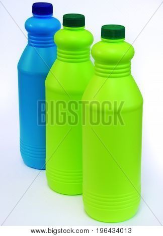 Bottles of disinfectant of different specialty according to the color.