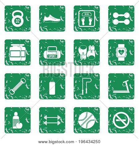 Gym Icons set in grunge style green isolated vector illustration