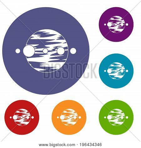 Planet and moons icons set in flat circle red, blue and green color for web