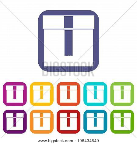 Box icons set vector illustration in flat style in colors red, blue, green, and other