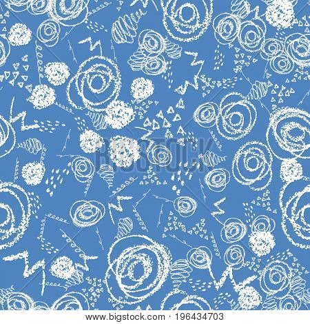 Vector colorful seamless pattern with brush blots and circles. White color on blue background. Hand painted grange texture. Ink geometric elements. Fashion modern style. Unusual teen and kid