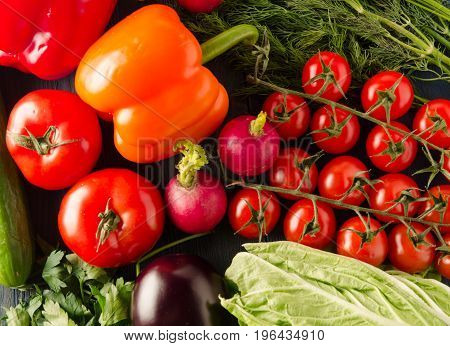 Fresh Vegetables. Colorful Vegetables Background. Healthy Vegetable . Assortment Of Fresh Vegetables