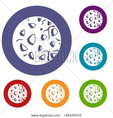 Rocky planet icons set in flat circle red, blue and green color for web