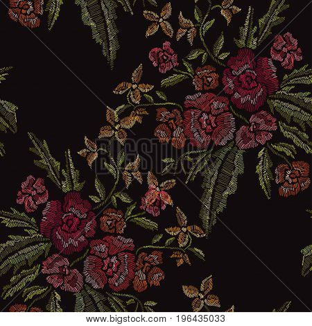 Elegant seamless pattern with hand drawn decorative flowers design elements. Floral pattern for wedding invitations cards wallpapers scrapbooking print gift wrap manufacturing. Embroidery