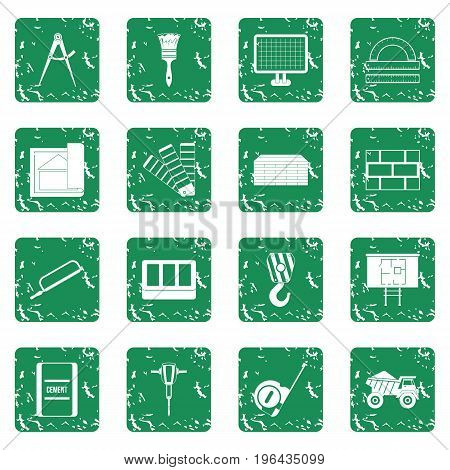 Construction icons set in grunge style green isolated vector illustration