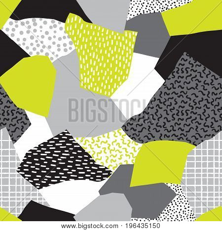 Seamless abstract vector collage of retro 80's Memphis fashion patterns.