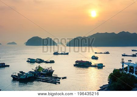 Sunset Over Boats Of Cat Ba Island In Vietnam